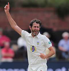 Graham Onions of Durham celebrates the wicket of Peter Trego. - Mandatory by-line: Alex Davidson/JMP - 05/08/2016 - CRICKET - The Cooper Associates County Ground - Taunton, United Kingdom - Somerset v Durham - County Championship - Day 2