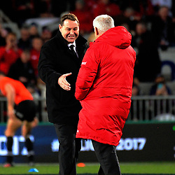 Steve Hansen shakes hands with Warren Gatland before the 2017 DHL Lions Series rugby union match between the NZ All Blacks and British & Irish Lions at Eden Park in Auckland, New Zealand on Saturday, 24 June 2017. Photo: Dave Lintott / lintottphoto.co.nz