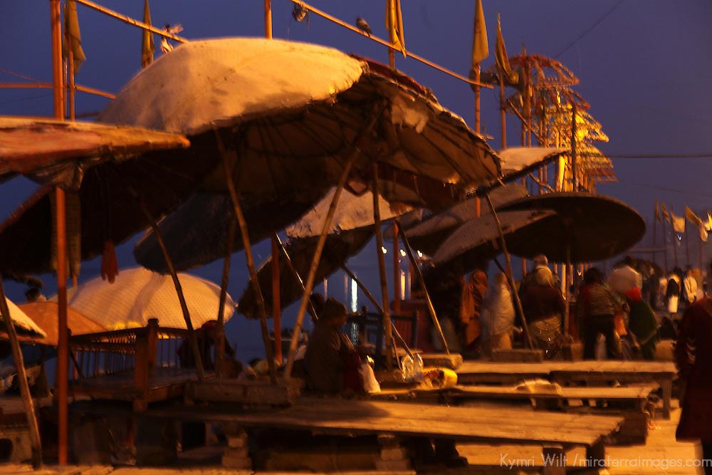 Asia, India, Varanasi. Early morning at the Varanasi Ghats.