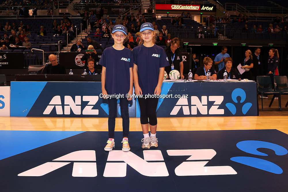 ANZ future captains Jessica Franks and Hannah Paul before the ANZ Championship Netball between Mainland Tactix v Melbourne Vixens, held at CBS Arena, Christchurch. 31 March 2014 Photo: Joseph Johnson/www.photosport.co.nz