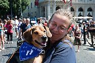 Roma 16 Giugno 2012.Manifestazione nazionale a Roma di Occupy GreenHill  contro l'allevamento di beagle Green Hill che fornisce i cani per i laboratori di vivisezione.