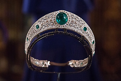 Windsor, UK. 28th February, 2019. The Greville Emerald Kokoshnik Tiara, lent to HRH Princess Eugenie by Her Majesty the Queen for her wedding to Mr Jack Brooksbank, will go on public display for the first time with other items from their wedding at Windsor Castle in a special exhibition named 'A Royal Wedding: HRH Princess Eugenie and Mr Jack Brooksbank' from 1st March to 22nd April. Other items included in the exhibition are Princess Eugenie's wedding dress created by Peter Pilotto and Christopher De Vos of the British-based label Peter Pilotto, diamond and emerald drop earrings gifted to the bride by the groom, Mr Jack Brooksbank's morning suit made by tailors at Huntsman on Savile Row, two diamond wheat-ear brooches, diamond and emerald drop earrings, Princess Eugenie's evening gown, HRH Princess Beatrice's blue dress by the London-based couture house Ralph & Russo and headpiece by British milliner Sarah Cant and a bridesmaid and pageboy outfit by London-based children's designer Amaia Kids.