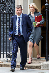 © Licensed to London News Pictures. 11/09/2018. London, UK. Justice Secretary David Gauke (L) and Chief Secretary to the Treasury Elizabeth Truss (R) leave 10 Downing Street. Photo credit: Rob Pinney/LNP