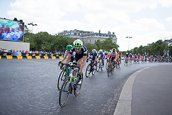 Riejanne Markus (NED) of Liv-Plantur Cycling Team dictates the tempo at the front during the La Course, a 89 km road race in Paris on July 24, 2016 in France.