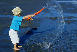 North America, United States, Washington, boy (age 3) playing with water on beach.  MR