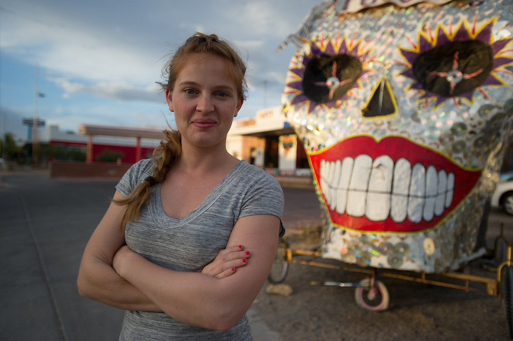 Woman with Skull made of CDs Tucson AZ