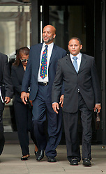 09 July 2014. New Orleans, Louisiana. <br /> Ray Nagin, former mayor of New Orleans leaves Federal Court in New Orleans with his wife Seleta Smith and attorneys following his sentencing hearing. Nagin was sentenced to serve 10 years in prison for bribery and money laundering. <br /> Photo; Charlie Varley/varleypix.com