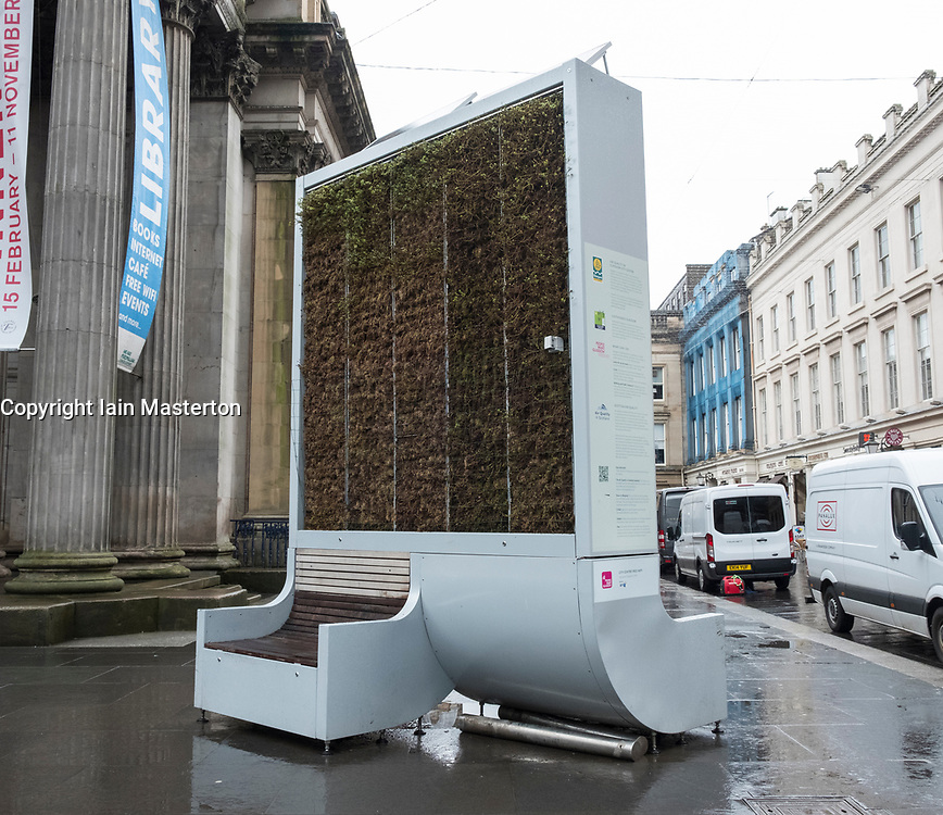 Large outdoor air purifying machine on street in central Glasgow , Scotland, United Kingdom