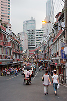 street scene in evening in Shanghai China