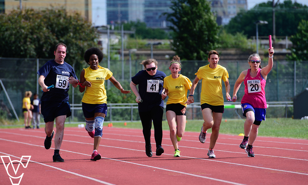 Metro Blind Sport's 2017 Athletics Open held at Mile End Stadium.  4x100m relay.  From left, Vanja Sudar with guide runner, Hannah Bromley-Challenor with guide runner and Lisa Hendy with guide runner<br /> <br /> Picture: Chris Vaughan Photography for Metro Blind Sport<br /> Date: June 17, 2017