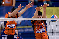 Alen Pajenk and Vid Jakopin of ACH at final match of Slovenian National Volleyball Championships between ACH Volley Bled and Salonit Anhovo, on April 24, 2010, in Radovljica, Slovenia. ACH Volley defeated Salonit 3rd time in 3 Rounds and became Slovenian National Champion.  (Photo by Vid Ponikvar / Sportida)