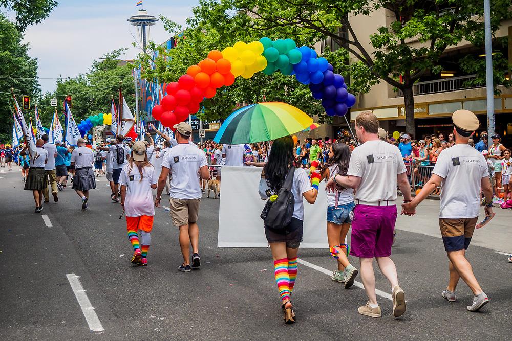 United States, Washington, Seattle Gay Pride Parade, June 28th, 2015.