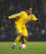 Goal scorer and match winner Didier Drogba (Chelsea)  in action during the Barclays Premier League match between Portsmouth and Chelsea at Fratton Park on March 3, 2009 in Portsmouth, England.