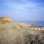 Martello tower and wooden groynes on shingle beach, Slaughden, Aldeburgh, Suffolk, England