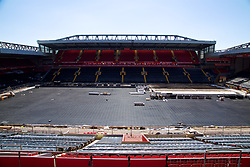 LIVERPOOL, ENGLAND - Sunday, June 18, 2017: The Anfield pitch continues to be relaid with the undersoil heating pipes exposed. (Pic by David Rawcliffe/Propaganda)