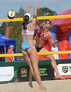 STARE JABLONKI POLAND - July 2:  Barbara Hansel /1/  of Austria in action during Day 2 of the FIVB Beach Volleyball World Championships on July 2, 2013 in Stare Jablonki Poland.  (Photo by Piotr Hawalej)