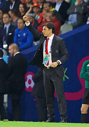 LILLE, FRANCE - Friday, July 1, 2016: Wales' manager Chris Coleman during the UEFA Euro 2016 Championship Quarter-Final match against Belgium at the Stade Pierre Mauroy. (Pic by David Rawcliffe/Propaganda)