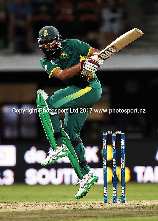 South Africa's Hashim Amla batting during the One Day International cricket match - New Zealand Black Caps v South Africa played at Seddon Park, Hamilton, New Zealand on Sunday 19 February 2017.  Copyright photo: Bruce Lim / www.photosport.nz