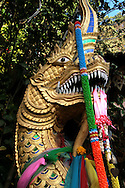Naga at Wat Doi Suthep - Naga is the Sanskrit and Pali word for a deity or class of entity, taking the form of a  king cobra, found in Hinduism and Buddhism. The Buddhist naga generally has the form of a great cobra-like snake, usually with a single head but sometimes with many.  Some of the naga are capable of using magic powers to transform themselves into a human semblance.
