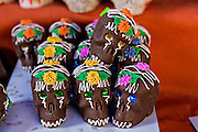 Chocolate skulls celebrating the Day of the Dead festival known in spanish as Día de Muertos in Oaxaca, Mexico.