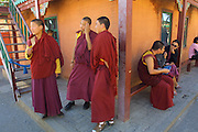 ULAN BATOR, MONGOLIA..09/05/2001.Gandan Khiid (monastery)..Young Buddhist monks..(Photo by Heimo Aga)