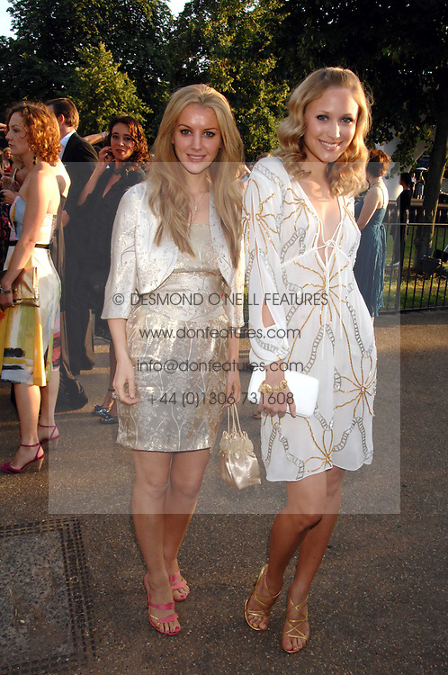 Left to right, actress TIFFANY MULHERON and actress THERESA SOBOVA at the annual Serpentine Gallery Summer Party in association with Swarovski held at the gallery, Kensington Gardens, London on 11th July 2007.<br />