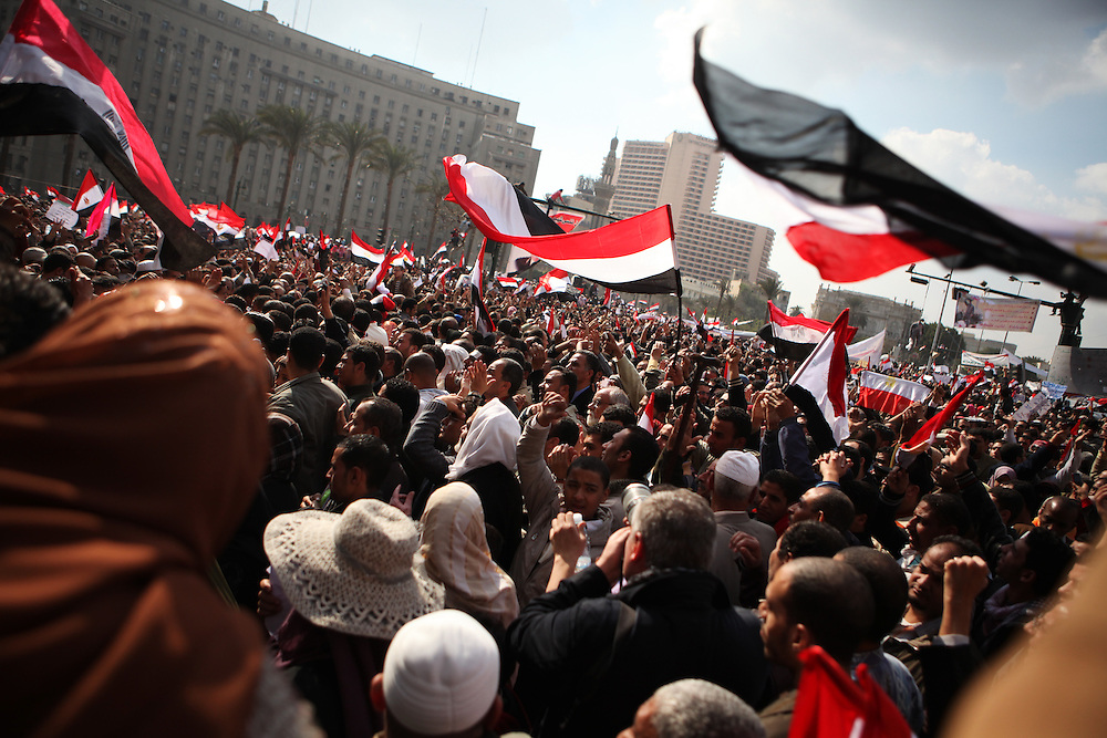 Protests calling for the ouster of President Hosni Mubarak continued at Tahrir Square on 8 February.