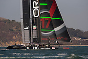 Oracle Team USA test their AC72 in San Francisco bay. 10/10/2012
