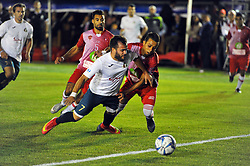 October 6, 2017 - Nabeul, Tunisia - Pedro Vreira(7)of Portugal and Anis Bahri of Tunisia(6) during the opening match against Portugal....Ceremonie the kickoff of the World Cup mini-football, held from 6 to 15 October in Nabeul (60 km south of Tunis) Tunisia this Friday, October 6, 2017 with the participation of 24 teams from different countries world. (Credit Image: © Chokri Mahjoub via ZUMA Wire)