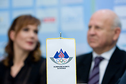 Petra Majdic and Janez Kocijancic at press conference when she has signed a contract with IOC and OKS for 16 months long sponsorship (1500 $ monthly) till Olympic games in Vancouver 2010, on December 22, 2008, Grand hotel Union, Ljubljana, Slovenia. (Photo by Vid Ponikvar / SportIda).
