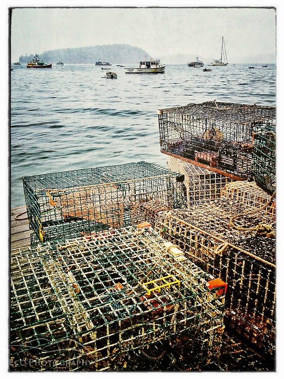 "Lobster traps on a dock on a rainy morning in Bar Habor, Maine. iPhone photo - suitable for print reproduction up to 8"" x 12""."