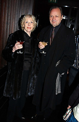 Actor PETER BOWLES and his wife SUE at an aftershow party following the opening of the play Whose Life is it Anyway held at Mint Leaf, Suffolk Place, London SW1 on 26th January 2005.<br />