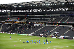 Coventry City's players warm up before kick off at the Stadium MK for for the Emirates FA Cup Fourth Round match.