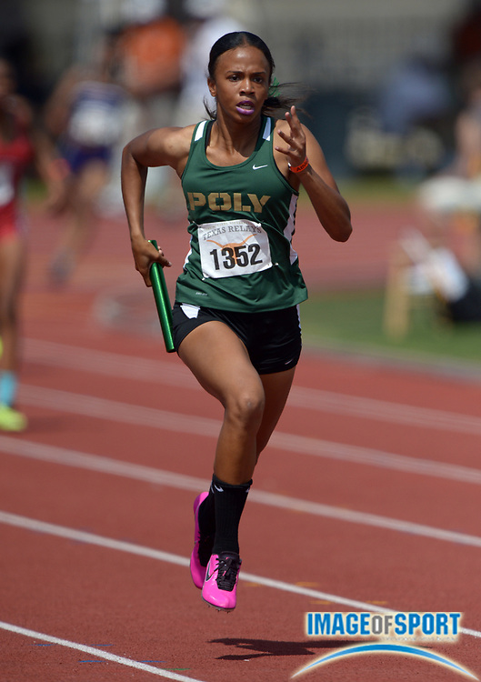 Mar 28, 2014; Austin, TX, USA; Maya Perkins runs the third leg on the Long Beach Poly girls 4 x 200m relay that won its heat in 1:37.39 in the 87th Clyde Littlefield Texas Relays at Mike A. Myers Stadium.