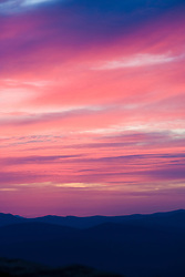 A colorful sunset over the Blue Ridge Mountains along the Blue Ridge Parkway, Virginia on January 12, 2008.