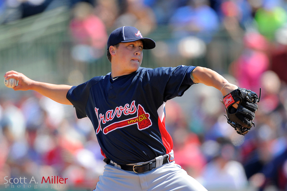 March 6, 2010; Kissimmee, FL, USA; Atlanta Braves pitcher Kris Medlen (54) during the Braves game against the Houston Astros game at Osceola County Stadium. ©2010 Scott A. Miller