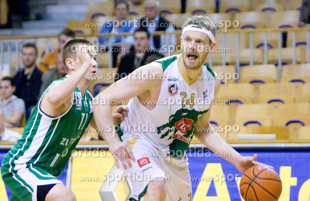 Tadej Kostomaj of Zlatorog vs Miha Zupan of Union Olimpija at first semifinals basketball match of Slovenian Men UPC League between KK Union Olimpija and KK Zlatorog Lasko, on May 15, 2009, in Arena Tivoli, Ljubljana, Slovenia. Zlatorog won 70:66. (Photo by Vid Ponikvar / Sportida)
