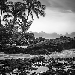 Secret Beach Makena Cove Maui Hawaii blakc and white photo. Also known as Wedding Beach and Pa'ako Cove, Secrets Beach is a popular beach in Wailea Kihei Hawaii. Copyright ⓒ 2019 Paul Velgos with All Rights Reserved.