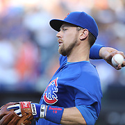 NEW YORK, NEW YORK - July 02: Ben Zobrist #18 of the Chicago Cubs warming up before the Chicago Cubs Vs New York Mets regular season MLB game at Citi Field on July 02, 2016 in New York City. (Photo by Tim Clayton/Corbis via Getty Images)