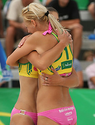 Tjasa Zupan and Martina Jakob (HIT Holidays Team) at qualifications for 14th National Championship of Slovenia in Beach Volleyball and also 4th tournament of series TUSMOBIL LG presented by Nestea, on July 25, 2008, in Kranj, Slovenija. (Photo by Vid Ponikvar / Sportal Images)/ Sportida)