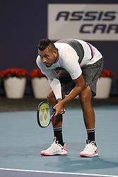 March 24, 2019 - Miami Gardens, Florida, United States Of America - MIAMI GARDENS, FLORIDA - MARCH 24:  Nick Kyrgios on Day 7 of the Miami Open Presented by Itau at Hard Rock Stadium on March 24, 2019 in Miami Gardens, Florida..People: Nick Kyrgios. (Credit Image: © SMG via ZUMA Wire)