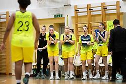 Players of ZKK Cinkarna Celje in action during basketball match between ZKK Cinkarna Celje (SLO) and MBK Ruzomberok (SVK) in Round #6 of Women EuroCup 2018/19, on December 13, 2018 in Gimnazija Celje Center, Celje, Slovenia. Photo by Urban Urbanc / Sportida
