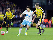 Aleksandar Mitrovic holds off Craig Catchcart during the The FA Cup Third Round match between Watford and Newcastle United at Vicarage Road, Watford, England on 9 January 2016. Photo by Dave Peters.