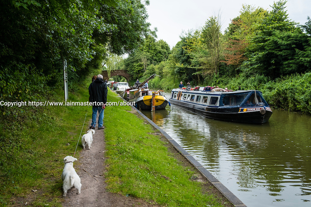 Couple walking dogs on towpath of Kennet and Avon Canal in Wiltshire England, United Kingdom