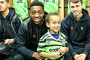 Matchday mascot with Forest Green Rovers Ebou Adams(14) during the EFL Sky Bet League 2 match between Forest Green Rovers and Mansfield Town at the New Lawn, Forest Green, United Kingdom on 19 October 2019.
