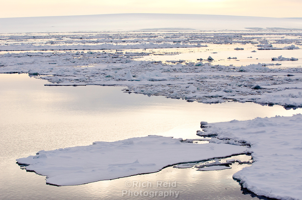 Midnight sun reflecting off the sea ice and glassy waters in Hinlopen Strait between Nordaustlandet and Spitsbergen in Svalbard archipelago, Norway.