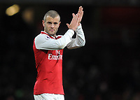 Football - 2017 / 2018 Premier League - Arsenal vs. Huddersfield Town<br /> <br /> Jack Wilshire of Arsenal, who Arsene Wenger wants to stay at the club, applaudes the crowd after the match, at The Emirates.<br /> <br /> COLORSPORT/ANDREW COWIE