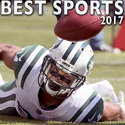 September 17, 2017 - Oakland, California, U.S. - New York Jets wide receiver KALIF RAYMOND (84) drops a fair catch for the Oakland Raiders to recover in the 2nd quarter of NFL action at Oakland Alameda County Stadium. (Credit Image: © Paul Kuroda via ZUMA Wire)