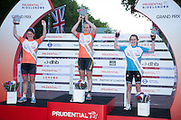 The Youth Female Grand Prix winners on the Podium during The Prudential RideLondon Sunday 2nd August 2015. <br /> 1st Ella Barnwell<br /> 2nd Sophie Williams<br /> 3rd Elizabeth Catlow<br /> <br /> <br /> Prudential RideLondon is the world's greatest festival of cycling, involving 95,000+ cyclists – from Olympic champions to a free family fun ride - riding in five events over closed roads in London and Surrey over the weekend of 1st and 2nd August 2015. <br /> <br /> Photo: Paul Gregory<br /> <br /> See www.PrudentialRideLondon.co.uk for more.<br /> <br /> For further information: Penny Dain 07799 170433<br /> pennyd@ridelondon.co.uk