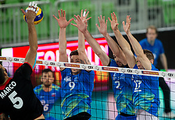 Marco Evan Ferreira of Portugal vs Dejan Vincic of Slovenia, Alen Pajenk of Slovenia and Tine Urnaut of Slovenia during volleyball match between National teams of Slovenia and Portugal in 2nd Round of 2018 FIVB Volleyball Men's World Championship qualification, on May 26, 2017 in Arena Stozice, Ljubljana, Slovenia. Photo by Vid Ponikvar / Sportida